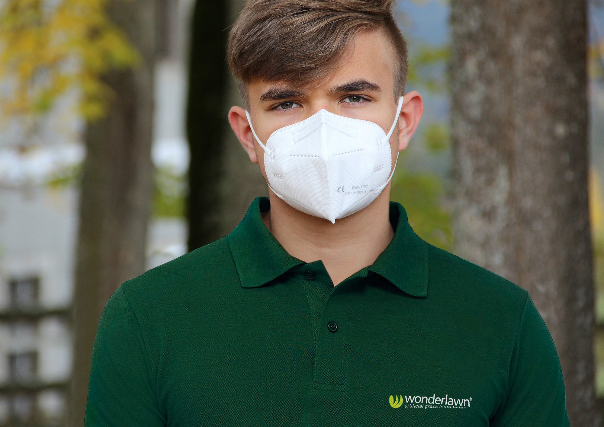 A Wonderlawn Employee staying safe with a covid mask on site
